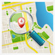 Paper Map with Magnifying Glass and Pin - GraphicRiver Item for Sale