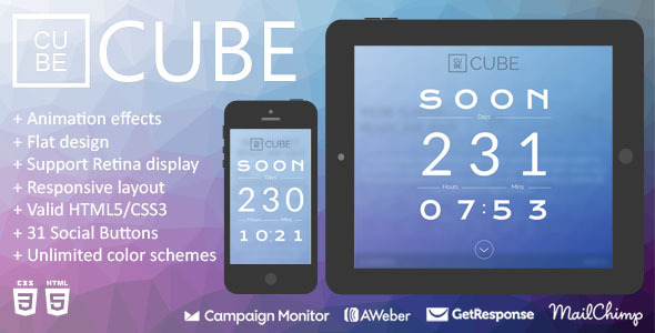 Cube – Animation Responsive Coming Soon Page