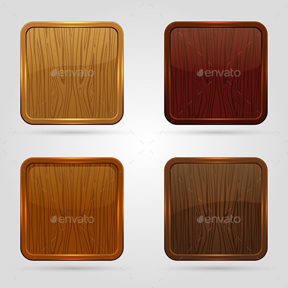 Wooden Button - Web Elements Vectors