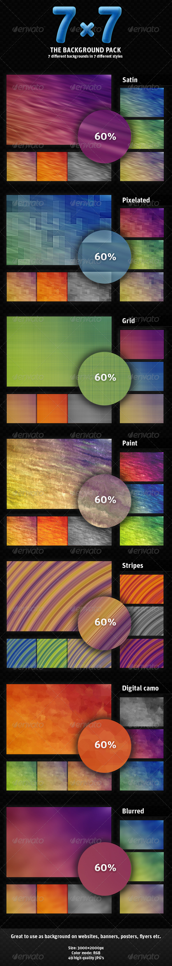 7×7 - Mega background pack (49 backgrounds inside) - Backgrounds Graphics