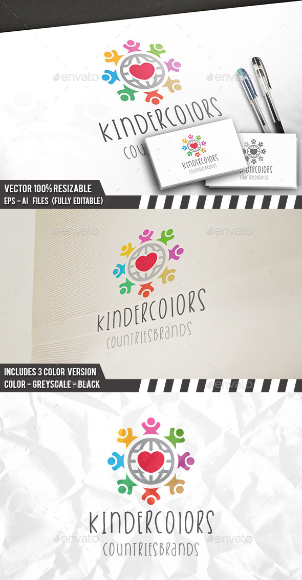 Kids World Brand Logo - Humans Logo Templates
