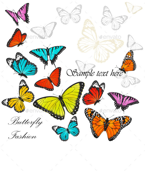 Background with Colorful Butterflies  - Animals Characters