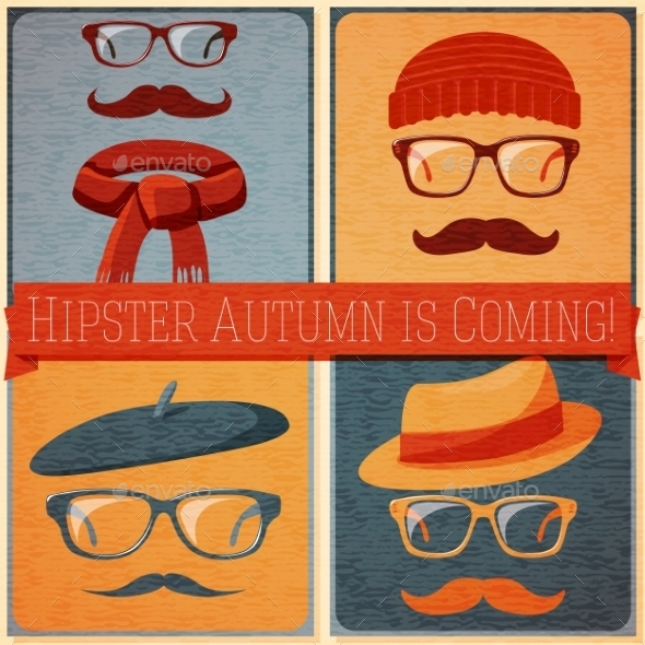 Set of Autumn Dressed Hipster Faces - Seasons Nature
