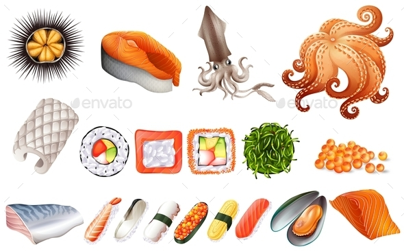 Sushi and Seafood Set  - Food Objects