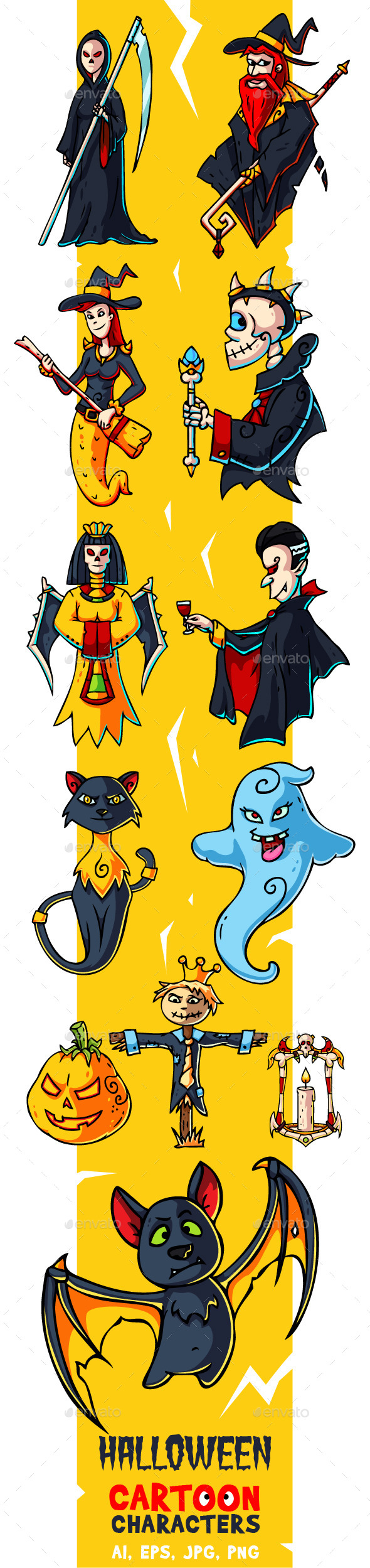 Halloween Cartoon Characters Set - Miscellaneous Characters
