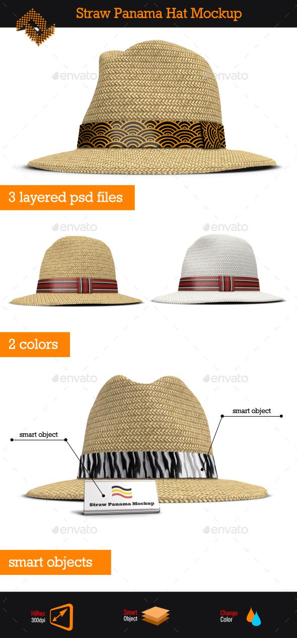Straw Panama Hat Mockup - Apparel Product Mock-Ups