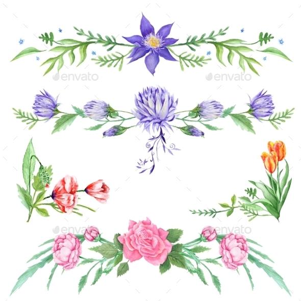 Elegant Watercolor Floral Vignettes - Flourishes / Swirls Decorative