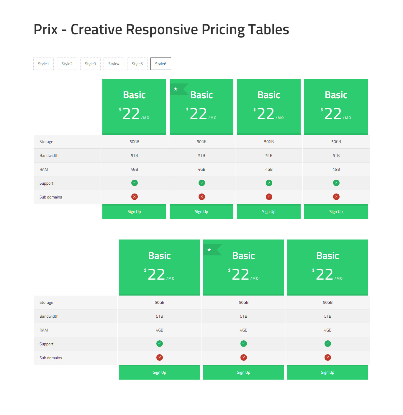 Prix responsive multipurpose css pricing tables by for Responsive table css