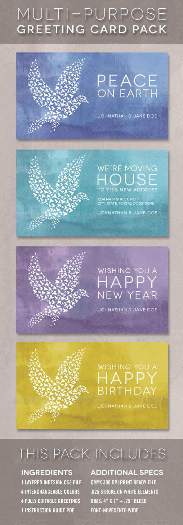 The Dove Greeting Card Template Multi-Pack - Greeting Cards Cards & Invites