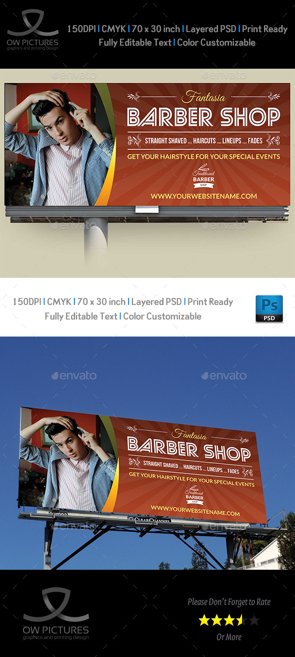 Barber Shop Billboard Template - Signage Print Templates