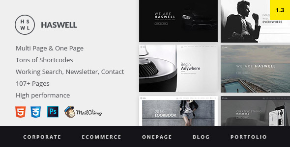 Haswell – Multipurpose One & Multi Page Template