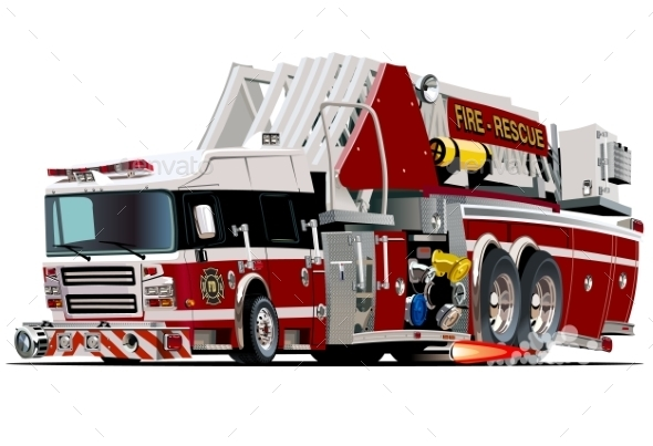 Cartoon Fire Truck - Man-made Objects Objects
