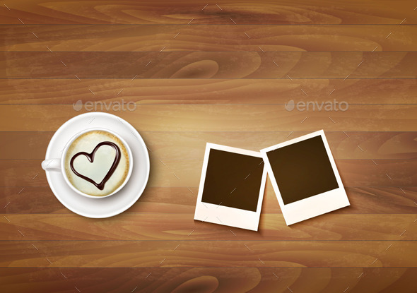 Coffee Mug With A Heart On A Desk And Two Photos. Vector. - Valentines Seasons/Holidays