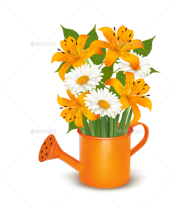 Watering Can With A Bouquet Of Flowers. Vector. - Flowers & Plants Nature