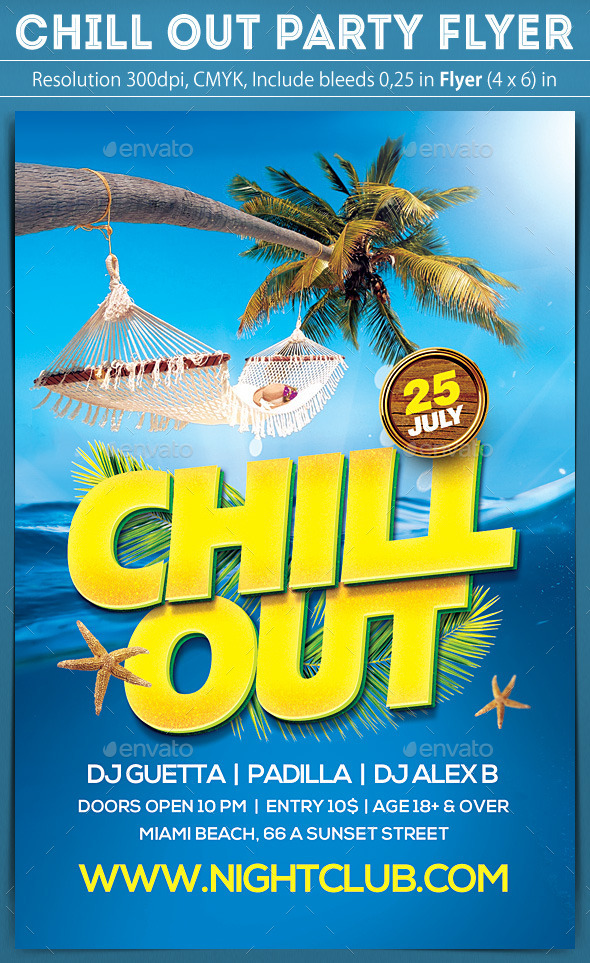 Chill Out Party Flyer - Clubs & Parties Events