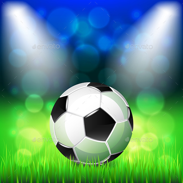 Soccer Ball on Stadium Background - Sports/Activity Conceptual