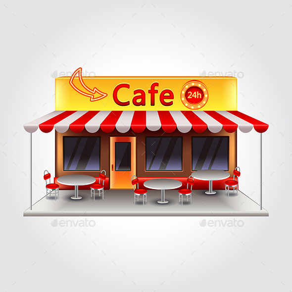 Cafe Building Isolated Illustration - Buildings Objects