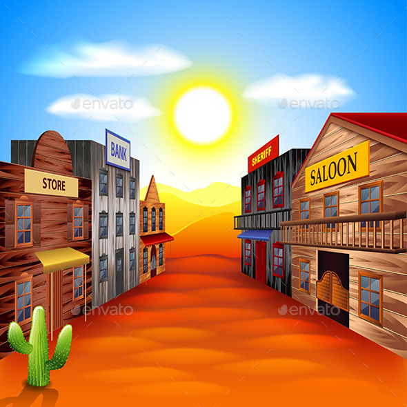 Wild West Town Background - Buildings Objects