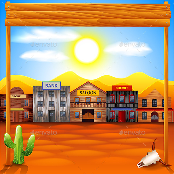 Wild West Town Panorama Background - Buildings Objects