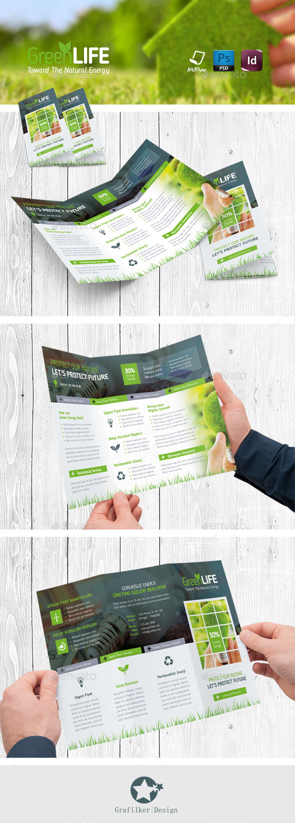 Green Energy Tri-Fold Templates - Corporate Brochures