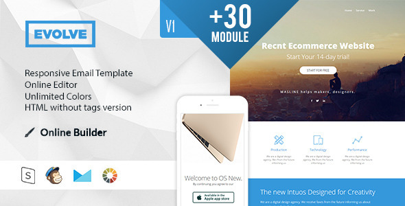 EVOLVE – Modern Email Template + Online Access