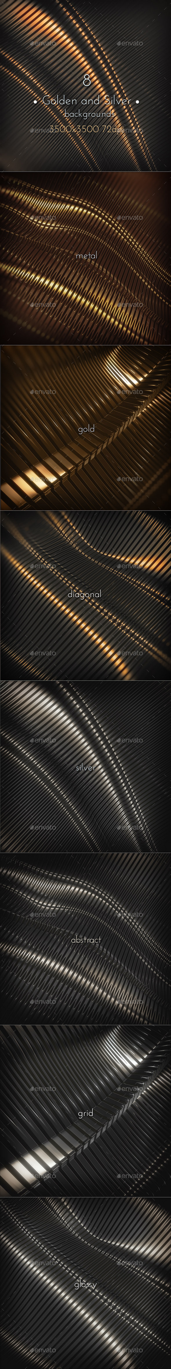 Golden and Silver Metal Surface - 3D Backgrounds