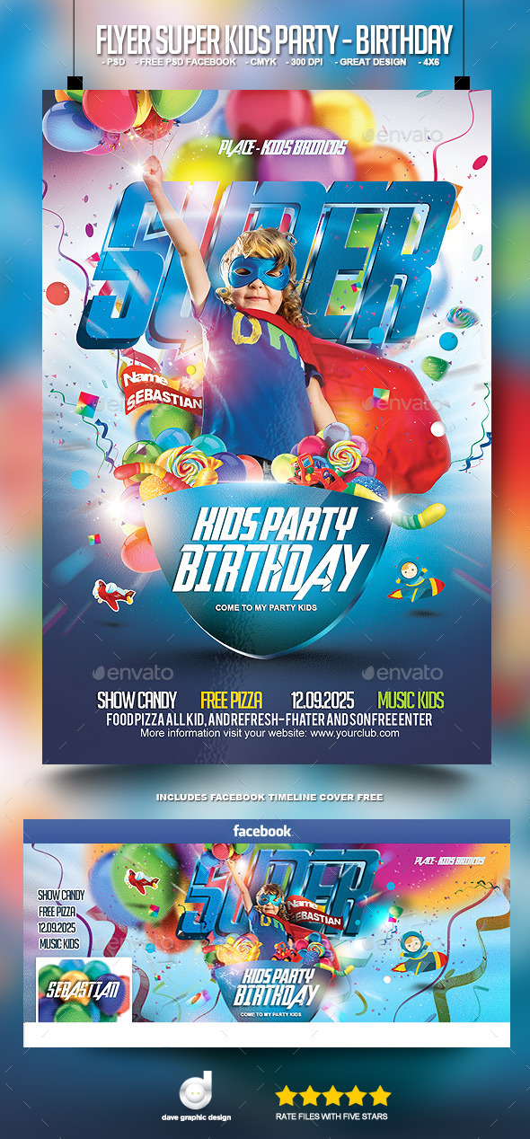 Flyer Super Kids Party - Birthday - Events Flyers