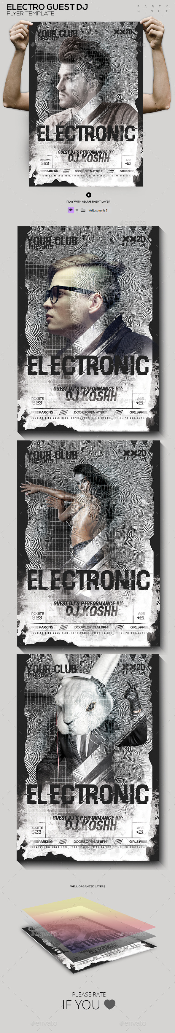 Electro Guest Dj Flyer Template  - Clubs & Parties Events