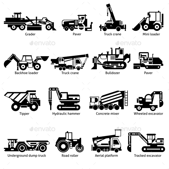 Construction Machines Black White Icons Set  - Man-made Objects Objects