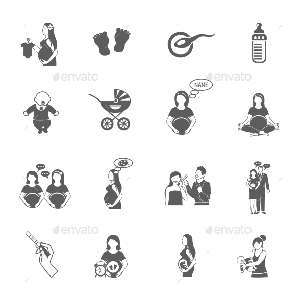 Pregnancy Black Icon Set - Health/Medicine Conceptual