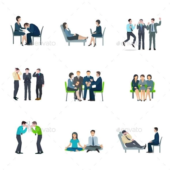 Mental Health Flat Icons Set - Health/Medicine Conceptual