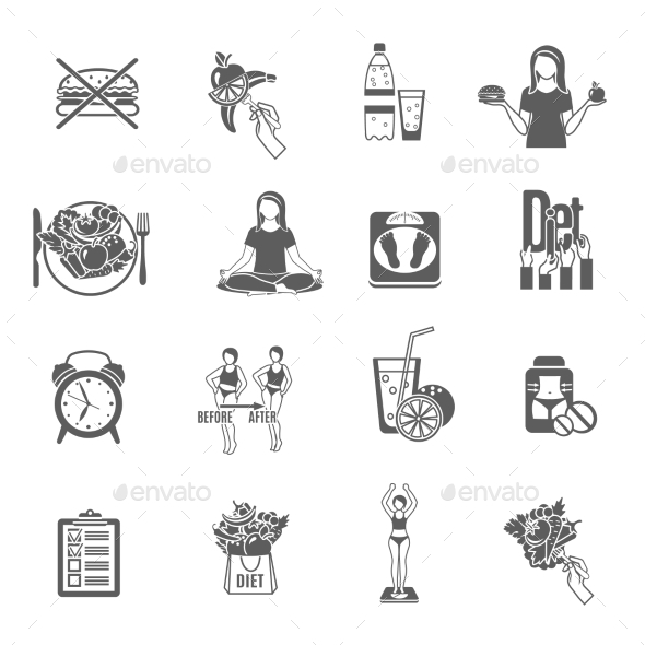 Weight Loose Diet Black Icons Set - Miscellaneous Icons