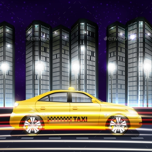 Taxi in City Background - Backgrounds Decorative