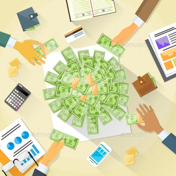 Money On Desk Hands Business People Group Crowd - Concepts Business