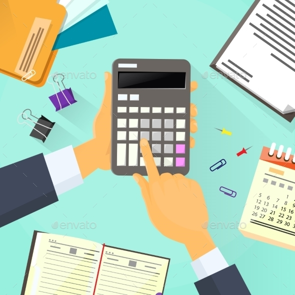 Calculator Business Man Hand Office Desk - Concepts Business