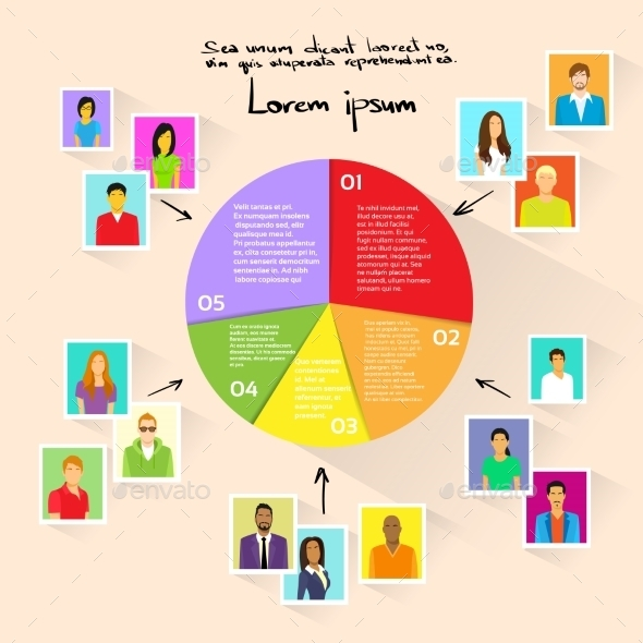 Circle Pie Diagram People Social Media Marketing - Concepts Business