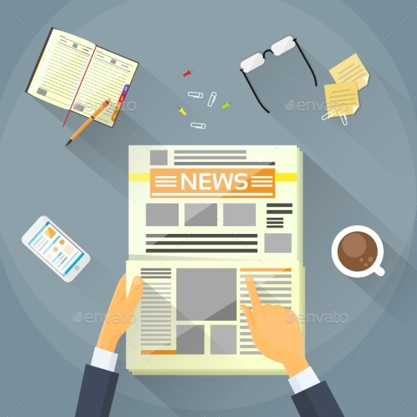 Businessman Read Newspaper, Hands Hold News Paper - Concepts Business