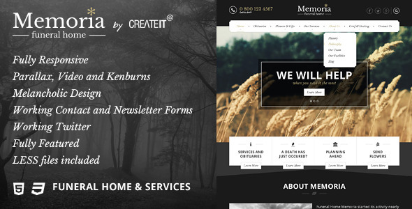 Memoria - Funeral Home HTML Template - Miscellaneous Site Templates