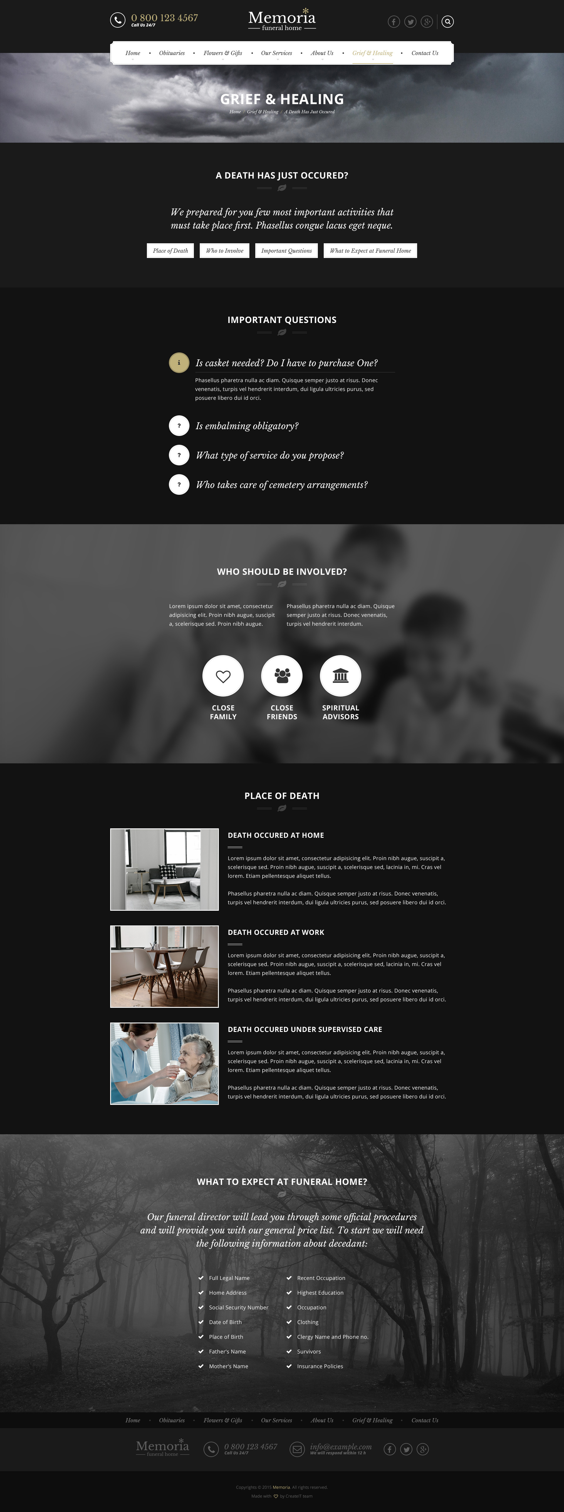 Memoria - Funeral Home HTML Template by createit-pl | ThemeForest