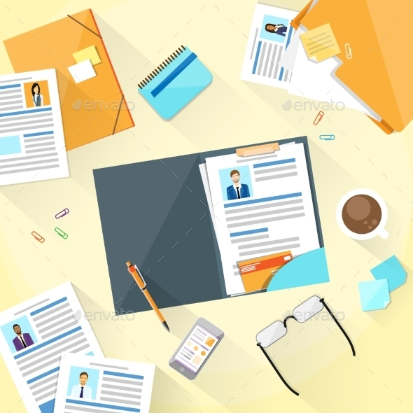 Human Resouce Working Place Desk Documents - Concepts Business