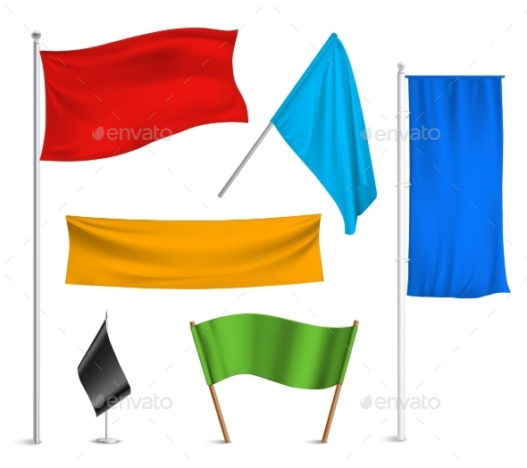 Colored Flags Banners Icons Composition - Man-made Objects Objects