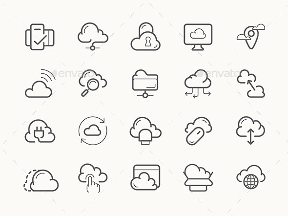 Cloud Service Server Hosting Line Icons - Communications Technology
