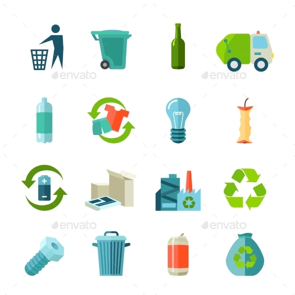 Recycling Icons Set  - Man-made objects Objects