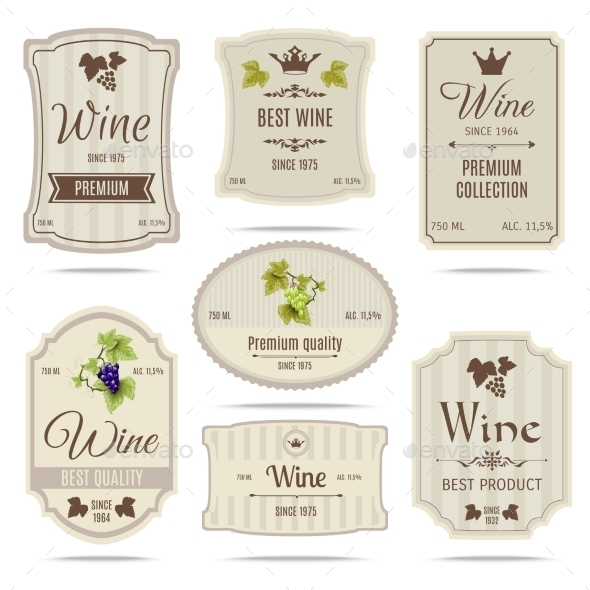 Wine Labels Set - Food Objects