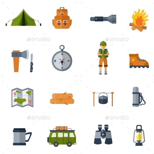 Camping Flat Icons Set - Miscellaneous Icons