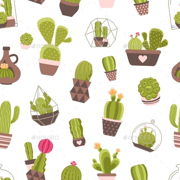 Cactus Seamless Pattern - Flowers & Plants Nature