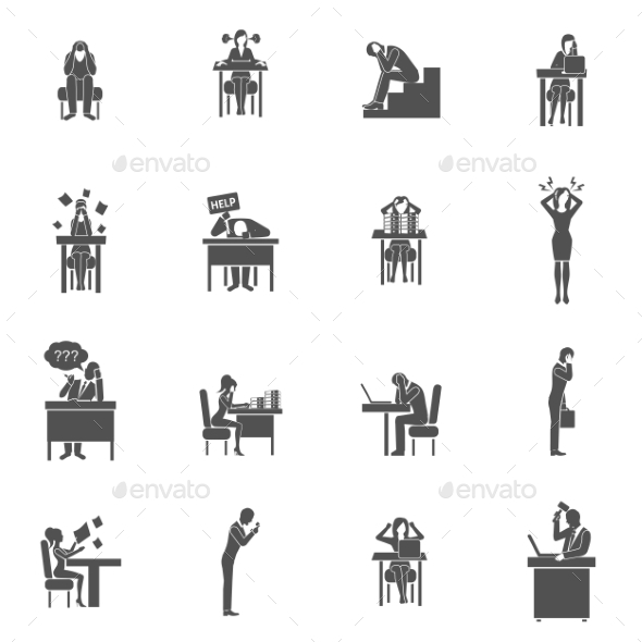 Frustration Icons Set - People Characters