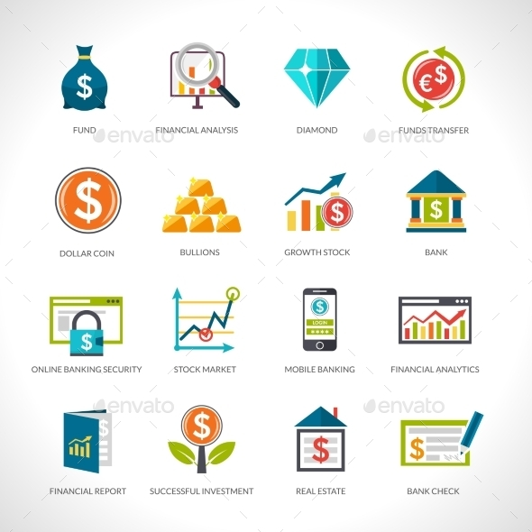 Financial Analysis Icons Set - Objects Vectors