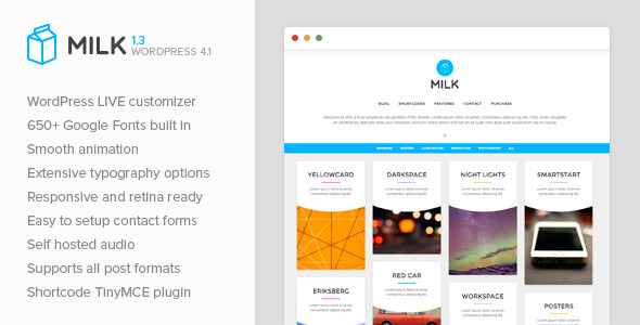 Milk – Simple Masonry WordPress Portfolio