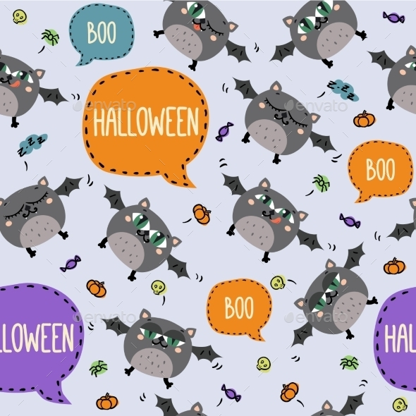 Seamless Halloween Pattern With Cute Flying Bats - Patterns Decorative